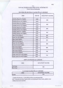 Fiyatlar ekli listede sunulmuştur.