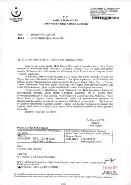 31 Ekim 2014 - Çevre Sağlığı Daire Başkanlığı