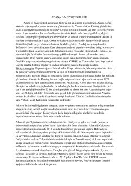 ADANA DA BĠYOÇEġĠTLĠLĠK Adana ili biyoçeĢitlilik açısından