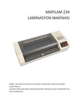 mapılam 234 laminasyon makinası