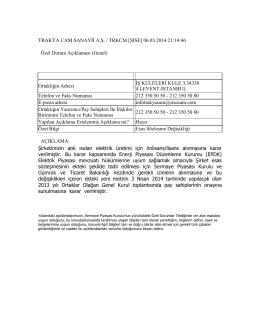 06.03.2014 Esas Sözleşme Değişikliği