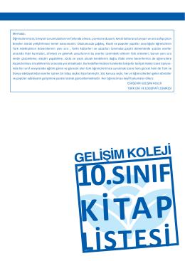 10. sınıf kitapları - Eskişehir Gelişim Koleji