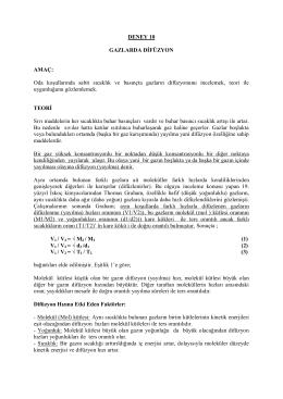Deney 10 - Gazlarda Difüzyon