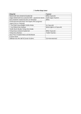 7. Sınıflar - Özel Tevfik Fikret Okulları