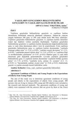ARPACI, Fatma-TOKYÜREK, Şadan-YAŞLILARIN