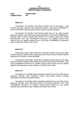 04.03.2014 Tarihli Yönetim Kurulu Kararları