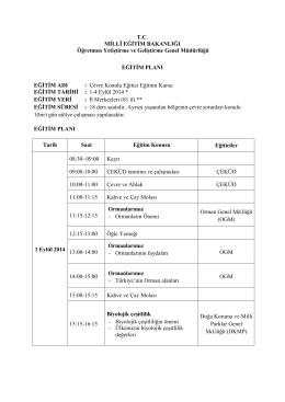 Eğitim Planı - Kilis Milli Eğitim Müdürlüğü