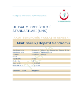 Akut sarılıklar - Türkiye Halk Sağlığı Kurumu