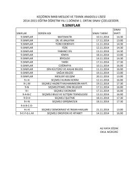 2014-2015 eğtiim öğretim yılı 9. sınıflar 1. ortak sınav çizelgesi için