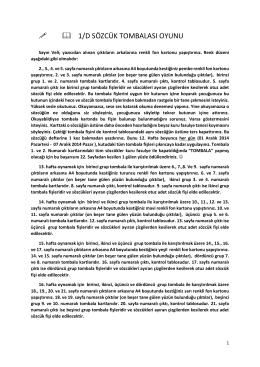 ffl 1/D SÖZCÜK TOMBALASI OYUNU