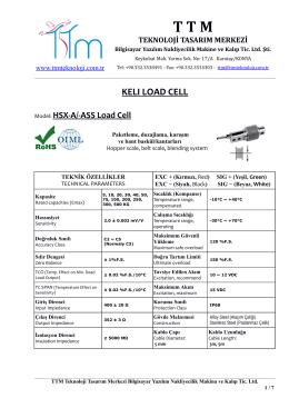 KELI HSX-A LOAD CELL - TTM Teknoloji Tasarım Merkezi