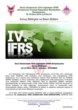 Sonuç Bildirgesi ve Basın Bülteni - UFRS Sempozyumu