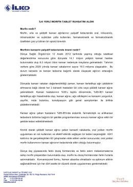 İLK YERLİ MORFİN TABLET RUHSATINI ALDIK Morfin
