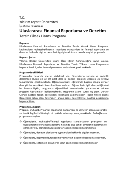 Uluslararası Finansal Raporlama ve Denetim