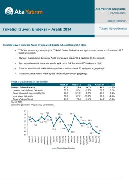 Tüketici Güven Endeksi – Aralık 2014