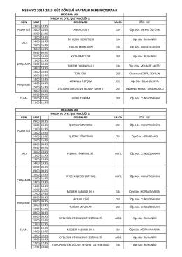 nsbmyo 2014-2015 güz dönemi haftalık ders programı