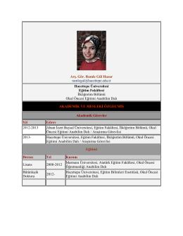 Araş. Gör. Ramle Gül Hazar - Hacettepe Üniversitesi Okul Öncesi