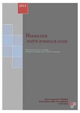 Hakimlerde Pozitif Ayrımcılık (PDF) - Ev