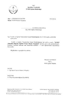 Manisa İl Milli Eğitim Müdürlüğünün 29/12/2014 gün,7027999 sayılı
