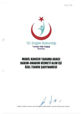 TC. Sağlık Bakanlığı MOBİL KANSER TARAMA ARACI BAKIM