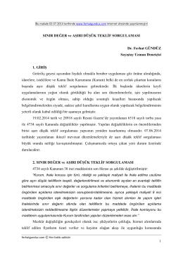 SINIR DEĞER ve AŞIRI DÜŞÜK TEKLĐF SORGULAMASI Dr. Ferhat