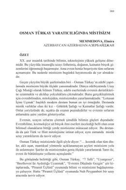 MEMMEDOVA, Elmira-OSMAN TÜRKAY YARATICILIĞINDA