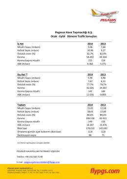 PGSUS OCAK EYLUL TRAFIK - Pegasus Yatırımcı İlişkileri