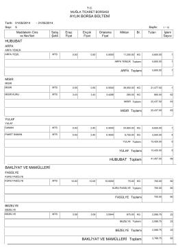 2014 mayıs ayı bülteni - Muğla Ticaret Borsası
