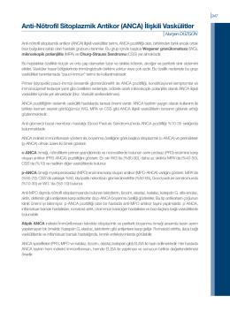 Anti-Nötrofil Sitoplazmik Antikor (ANCA) İlişkili Vaskülitler