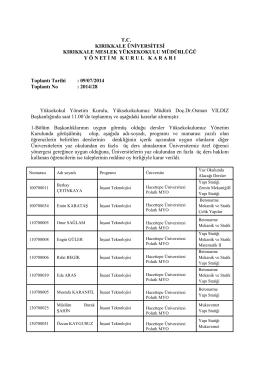 09.07.2014 Tarihli Yönetim Kurulu Kararı