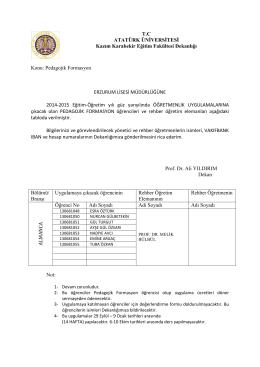 2014 Güz Yarıyılı Öğretmenlik Uygulaması Grupları