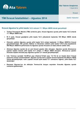 TİM İhracat İstatistikleri – Ağustos 2014