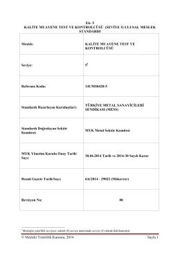 Kalite Muayene Test ve Kontrolcüsü Seviye 5
