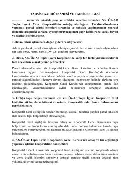 TAHSİS TAAHHÜTNAMESİ VE TAHSİS BELGESİ - öz-ar