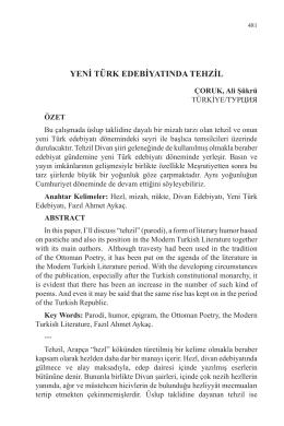 ÇORUK, Ali Şükrü-YENİ TÜRK EDEBİYATINDA TEHZİL