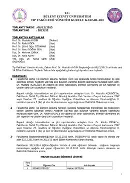 06/12/2013 Tıp Fakültesi Yönetim Kurulu Kararı