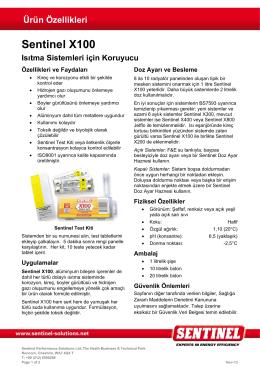 Ürün Özellikleri Sentinel X100