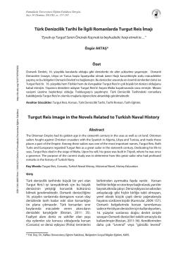 Türk Denizcilik Tarihi İle İlgili Romanlarda Turgut Reis İmajı Turgut