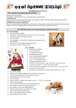 Özel Öğrenme Güçlüğü - Milli Eğitim Bakanlığı