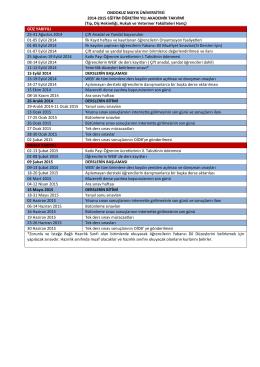 2014-2015 EĞİTİM-ÖĞRETİM YILI AKADEMİK TAKVİMİ