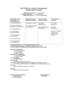 2014 EK M Ayı Anestezi ve Reanimasyon Kliniği Çalışma Programı