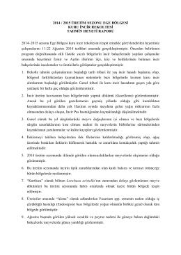 2014 / 2015 ÜRETİM SEZONU EGE BÖLGESİ KURU İNCİR
