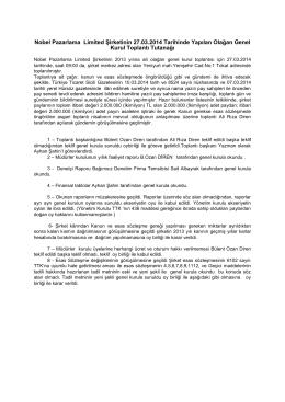 Nobel Pazarlama Ltd. Şti. Genel Kurul Toplantı Tutanağı 2013