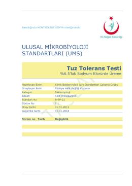 Tuz tolerans testi - Türkiye Halk Sağlığı Kurumu