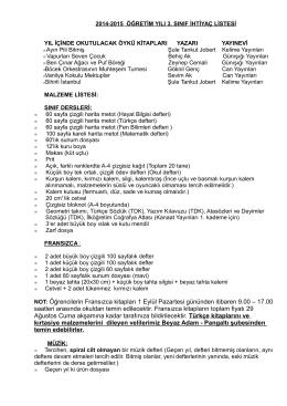 2005-2006 öğretim yılı ana sınıfı ihtitaç listes