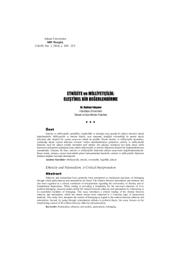 ETNİSİTE ve MİLLİYETÇİLİK - Ankara Üniversitesi Dergiler Veritabanı