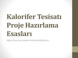 Bölüm VI Kalorifer Tesisatı Proje Hazırlama Esasları