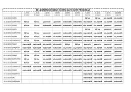 2014 bahar dönemi cüsem ales kurs programı
