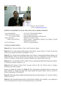 Prof. Dr. Metin ÖZBEK - Antropoloji Bölümü