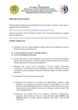 PROGRAM DUYURUSU GENEL ŞARTLAR